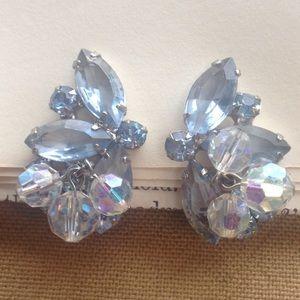 Jewelry - Vintage Pale Blue Clip Earrings